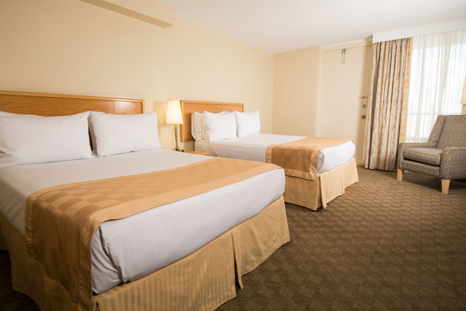 superior two queen room with balcony edmonton hotel